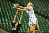 Tamara Taylor of England Women outjumps Rawinia Everitt of the Black Ferns to win a lineout during the test match between England Women and the Black Ferns at Twickenham on Saturday 01 December 2012 (Photo by Rob Munro)