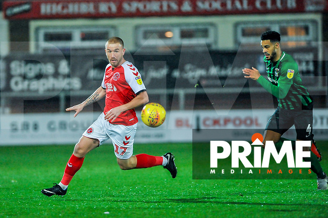 Fleetwood Town's forward Paddy Madden (17) chases the through ball during the Sky Bet League 1 match between Fleetwood Town and Coventry City at Highbury Stadium, Fleetwood, England on 27 November 2018. Photo by Stephen Buckley / PRiME Media Images.