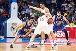 Real Madrid's Sergio Rodriguez and Gustavo Ayon and UCAM Murcia's Facundo Campazzo and Faverani during the first match of the playoff at Barclaycard Center in Madrid. May 27, 2016. (ALTERPHOTOS/BorjaB.Hojas)