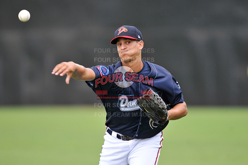 Pitcher Alec Grosser (25) of the Danville Braves warms up before in a game against the Johnson City Cardinals on Friday, July 1, 2016, at Legion Field at Dan Daniel Memorial Park in Danville, Virginia. Johnson City won, 1-0. (Tom Priddy/Four Seam Images)
