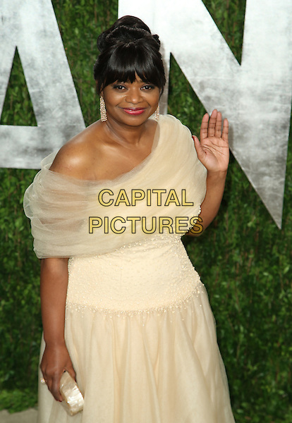 Octavia Spencer.2013 Vanity Fair Oscar Party following the 85th Academy Awards held at the Sunset Tower Hotel, West Hollywood, California, USA..February 24th, 2013.oscars half length white tulle off the shoulder dress clutch bag hand arm palm waving .CAP/ADM/SLP/DOW.©Dowling/StarlitePics/AdMedia/Capital Pictures