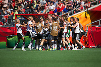 OTTAWA, Canada - Saturday,  June 20, 2015: Germany, first in Group B, defeated Sweden from Group D 4-1 in the round of 16 in the FIFA Women's World Cup Canada 2015 at Lansdowne Stadium.