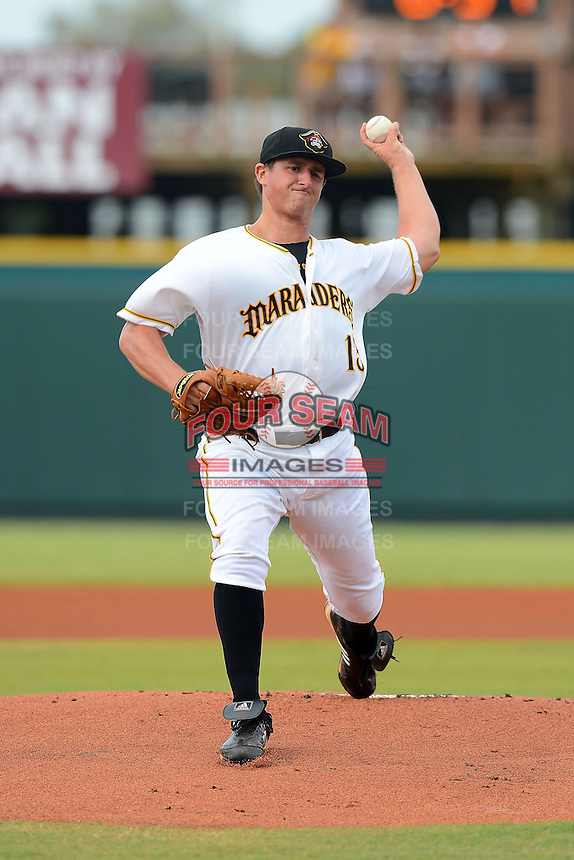 Bradenton Marauders pitcher Zack Dodson (13) during a game against the Lakeland Flying Tigers July 22, 2013 at McKechnie Field in Bradenton, Florida.  Bradenton defeated Lakeland 9-5.  (Mike Janes/Four Seam Images)