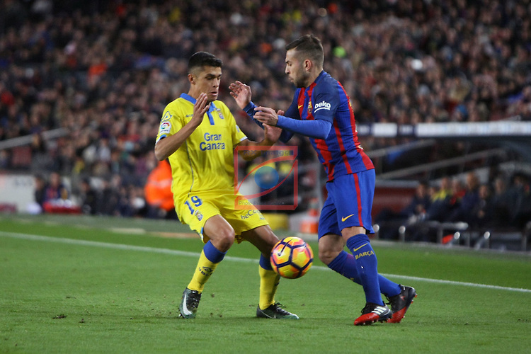 League Santander 2016/2017. Game: 18.<br /> FC Barcelona vs UD Las Palmas: 5-0.<br /> Mateo vs Jordi Alba.