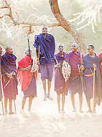 Maasai tribesmen in traditional dance called Adumu, a jumping competition. Near Amboseli National Park, Kenya
