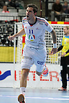 20.01.2013 Barcelona, Spain. IHF men's world championship, eighth.final. Picture show Samuel Honrubia   in action during game between Island  vs France at Palau st Jordi
