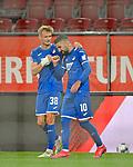17.06.2020, Fussball 1. Bundesliga 2019/2020, 32. Spieltag, FC Augsburg - TSG 1899 Hoffenheim, in der WWK-Arena Augsburg. Jubel (L-R) Stefan Posch (TSG 1899 Hoffenheim) und Torschütze Munas Dabbur (TSG 1899 Hoffenheim) zum Tor zum 0:2<br /> <br /> Foto: Bernd Feil/MIS/Pool/PIX-Sportfotos<br /> <br /> Nur für journalistische Zwecke! Only for editorial use! <br /> <br /> Gemäß den Vorgaben der DFL Deutsche Fußball Liga ist es untersagt, in dem Stadion und/oder vom Spiel angefertigte Fotoaufnahmen in Form von Sequenzbildern und/oder videoähnlichen Fotostrecken zu verwerten bzw. verwerten zu lassen. DFL regulations prohibit any use of photographs as image sequences and/or quasi-video.    <br /> <br /> National and international NewsAgencies OUT.