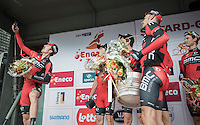 victory selfie on the podium by Taylor Phinney (USA/BMC)<br /> <br /> 12th Eneco Tour 2016 (UCI World Tour)<br /> stage 5 (TTT) Sittard-Sittard (20.9km) / The Netherlands