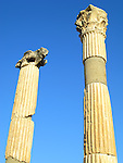 Ancient marble columns at the ruins of Ephesus in Turkey.