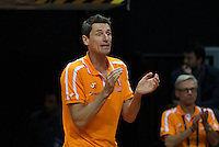 Arena Loire,  Trélazé,  France, 16 April, 2016, Semifinal FedCup, France-Netherlands, Captain Paul Haarhuis supports his doubles (NED)<br /> Photo: Henk Koster/Tennisimages