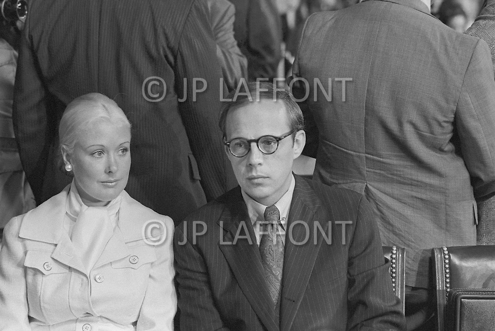 John Dean (with wife Maureen) testifies during Watergate Hearings 1973 - A break in at the Democratic National Committee headquarters at the Watergate complex on June 17, 1972 results in one of the biggest political scandals the US government has ever seen.  Effects of the scandal ultimately led to the resignation of  President Richard Nixon, on August 9, 1974, the first and only resignation of any U.S. President.