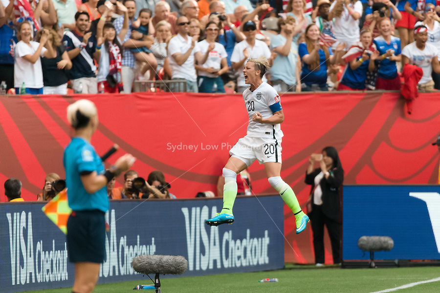June 16, 2015: Abby WAMBACH of the USA celebrates her goal during a Group D match at the FIFA Women's World Cup Canada 2015 between Nigeria and the USA at BC Place Stadium on 16 June 2015 in Vancouver, Canada. USA won 1-0. Sydney Low/Asteriskimages.com
