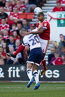 Michael Mancienne of Nottingham Forest rises highest for a header against Steve Morison of Millwall during the Sky Bet Championship match between Nottingham Forest and Millwall at the City Ground, Nottingham, England on 4 August 2017. Photo by James Williamson / PRiME Media Images.