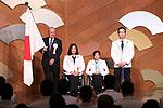 (L-R) Mitsunori Torihara, Kuniko Obinata, Momoka Muraoka, Satoru Sudo, MARCH 19, 2018 : Pyeongchang 2018 Winter Paralympics Japan Delegation disbandment ceremony in Tokyo, Japan. (Photo by Naoki Nishimura/AFLO SPORT)