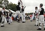 Members of Binghamton Morris Men, team of Morris dancers performing at the 23rd Annual Hudson Valley Garlic Festival at Cantine Field in Saugerties, NY on Saturday, September 24, 2011. Photo by Jim Peppler. Copyright Jim Peppler/2011.