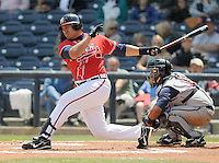 13 April 2008: Infielder Kala Ka'aihue (20) of the Mississippi Braves, Class AA affiliate of the Atlanta Braves, in a game against the Mobile BayBears at Trustmark Park in Pearl, Miss. Photo by:  Tom Priddy/Four Seam Images