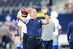 Dallas Cowboys head coach Jason Garrett in action before the pre-season game between the Houston Texans and the Dallas Cowboys at the AT & T stadium in Arlington, Texas.