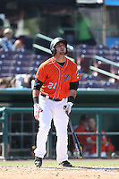 Kaleb Cowart (21) of the Inland Empire 66ers bats during a game against the Stockton Ports at The Hanger on April 11, 2015 in Lancaster, California. San Jose defeated Lancaster, 8-3. (Larry Goren/Four Seam Images)