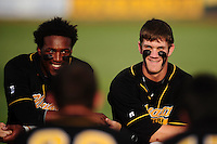 Jun. 1, 2010; Grand Junction, CO, USA; Southern Nevada Coyotes left fielder Marvin Campbell (left) and right fielder Bryce Harper against Iowa Western C.C. during the Junior College World Series as Suplizio Field. Southern Nevada won the game 12-7. Mandatory Credit: Mark J. Rebilas-