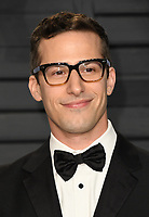 04 March 2018 - Los Angeles, California - Andy Samberg. 2018 Vanity Fair Oscar Party hosted following the 90th Academy Awards held at the Wallis Annenberg Center for the Performing Arts. <br /> CAP/ADM/BT<br /> &copy;BT/ADM/Capital Pictures