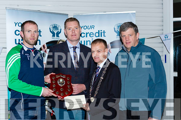 Tim Murphy County Board Chairman and John Long Chairman of Chapter 23 Credit Union presented Na Gaeil the Division 4 Champions their prize money in Killarney on Monday night l-r: Kieran Dineen, Tim Murphy County Board Chairman and John Long Chairman of Chapter 23 Credit Union John Barry