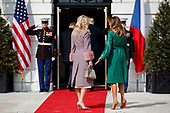 United States President Donald Trump and First Lady Melania Trump welcomes Czech Republic Prime Minister Andrej Babiš and Mrs. Monika Babišová on the South Portico at White House in Washington, District of Columbia on Thursday, March 7, 2019. Credit: Ting Shen / CNP