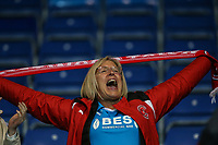 A Fleetwood Town fan celebrates at the final whistle during the Sky Bet League 1 match between Oxford United and Fleetwood Town at the Kassam Stadium, Oxford, England on 10 April 2018. Photo by David Horn.