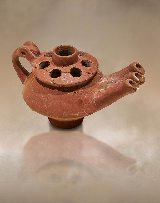 Bronze Age Anatolian terra cotta three spouted teapot - 19th to 17th century BC - Kültepe Kanesh - Museum of Anatolian Civilisations, Ankara, Turkey.  Against a warn art background.