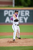 """Akron RubberDucks pitcher Tanner Tully (29) during an Eastern League game against the Erie SeaWolves on August 30, 2019 at Canal Park in Akron, Ohio.  Akron wore special jerseys with the slogan """"Fight Like a Kid"""" during the game for Akron Children's Hospital Home Run for Life event, the design was created by 11 year old Macy Carmichael.  Erie defeated Akron 3-2.  (Mike Janes/Four Seam Images)"""