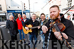 Pictured on Wednesday last, at the launch of the Busking Festival which takes place over the October Bank Holiday Weekend (Friday, Saturday and Sunday night), from 6pm-9pm in Tralee Town, l-r: Michael Moynihan (Heineken), Bernard Cassidy (Teach Beag), John McElligott (Sean Ógs) with Leonard Casey John Buggey and Noel McAuliffe (Musicians).