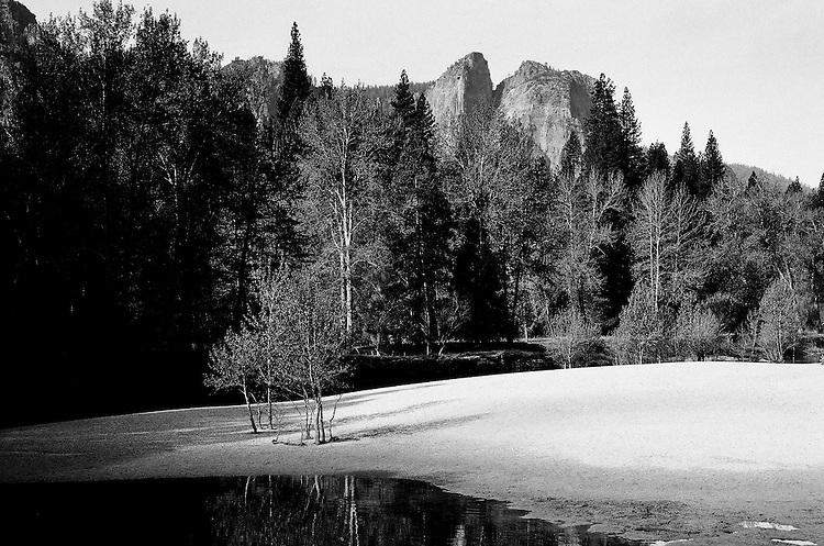 Beach at Swinging Bridge, Yosemite ,  35mm image on Ilford Delta 100 film