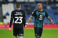 Connor Roberts and Andre Ayew of Swansea City talk during the Sky Bet Championship match between Huddersfield Town and Swansea City at The John Smith's Stadium in Huddersfield, England, UK. Tuesday 26 November 2019