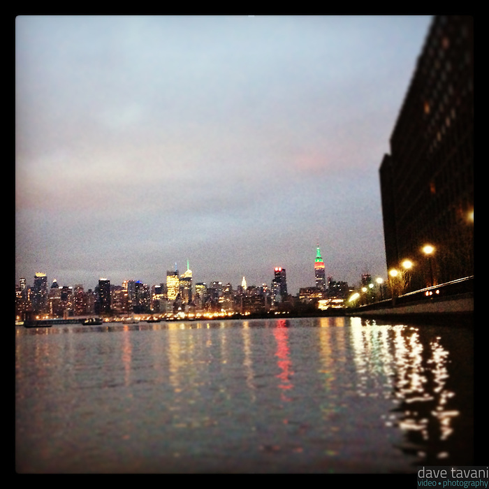 The New York City skyline on Christmas Day as seen from Hoboken, NJ, December 25, 2012.