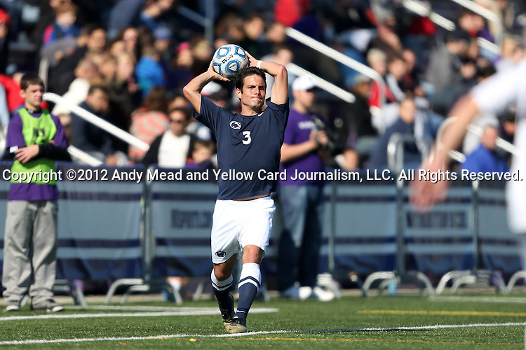 21 October 2012: Penn State's Daniel Burnham. The Northwestern University Wildcats played the Penn State University Nittany Lions at Lakeside Field in Evanston, Illinois in a 2012 NCAA Division I Men's Soccer game. Penn State won the game 1-0 in golden goal overtime.