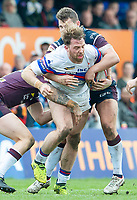 Picture by Allan McKenzie/SWpix.com - 08/04/2018 - Rugby League - Betfred Super League - Wakefield Trinity v Leeds Rhinos - The Mobile Rocket Stadium, Wakefield, England - Danny Kirmond is tackled by Stevie Ward.
