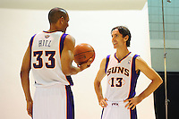 Dec. 16, 2011; Phoenix, AZ, USA; Phoenix Suns forward Grant Hill (left) and guard Steve Nash pose for a portrait during media day at the US Airways Center. Mandatory Credit: Mark J. Rebilas-