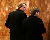 Attorney and United States Federal Election Commission member Don McGahn (L) is seen in the lobby of Trump Tower in New York, New York, USA, 14 January 2017. President-elect Donald Trump will be sworn in as the 45th President of the United States 20 January 2017.<br /> Credit: Jason Szenes / Pool via CNP