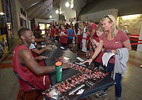NWA Democrat-Gazette/BEN GOFF @NWABENGOFF<br /> Arkansas men's basketball players sign autographs for fans on Sunday Oct. 23, 2016 before the Red-White game at Bud Walton Arena in Fayetteiville.