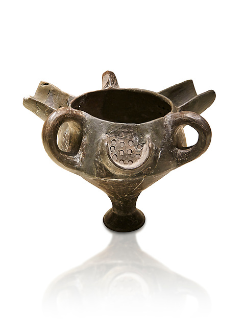 Bronze Age Anatolian terra cotta vessel with strainer - 19th to 17th century BC - Kültepe Kanesh - Museum of Anatolian Civilisations, Ankara, Turkey. Against a white background.