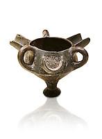 Bronze Age Anatolian terra cotta vessel with strainer - 19th to 17th century BC - Kültepe Kanesh - Museum of Anatolian Civilisations, Ankara, Turkey. Against a white background.