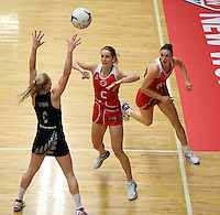 28.10.2014 England's Sara Bayman in action during the Silver Ferns V England netball match played at the Rotorua Events Centre in Rotorua. Mandatory Photo Credit ©Michael Bradley.
