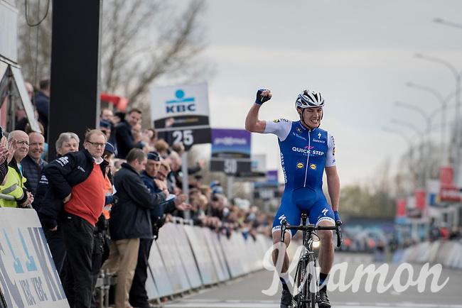 Yves Lampaert (BEL/QuickStep Floors) winning the biggest race of his career so far<br /> <br /> 72nd Dwars Door Vlaanderen (1.UWT)<br /> 1day race: Roeselare › Waregem BEL (203.4km)
