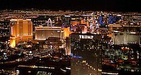 aerial photograph night time Trump, Palazzo, Ventian, Mirage, Las Vegas, Clark County, Nevada