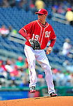 25 April 2010: Washington Nationals' starting pitcher Scott Olsen on the mound against the Los Angeles Dodgers at Nationals Park in Washington, DC. The Nationals shut out the Dodgers 1-0 to take the rubber match of their 3-game series. Mandatory Credit: Ed Wolfstein Photo