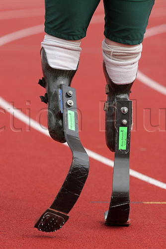 05.09.2006  Oscar Pistorius (SFA) at the IPC Paralympic World Cup 2006 The new Flex Foot Cheetah with embedded Spikes is on show.