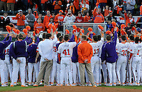 Members of the Clemson Tigers sign the Alma Mater following a game against the William & Mary Tribe on Opening Day, Friday, February 15, 2013, at Doug Kingsmore Stadium in Clemson, South Carolina. Clemson won, 2-0. (Tom Priddy/Four Seam Images)
