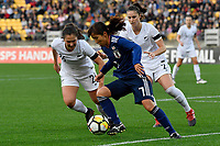 Japan&rsquo;s Emi Nakajima and Ferns&rsquo;Sarah Morton in action during the  International Football - Football Ferns v Japan  at Westpac Stadium, Wellington, New Zealand on Sunday 10 June 2018.<br /> Photo by Masanori Udagawa. <br /> www.photowellington.photoshelter.com