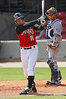 Chris Heisey of the Carolina Mudcats waiting to hit against  the Huntsville Stars on April 22, 2009 at Five County Stadium in Zebulon, NC.