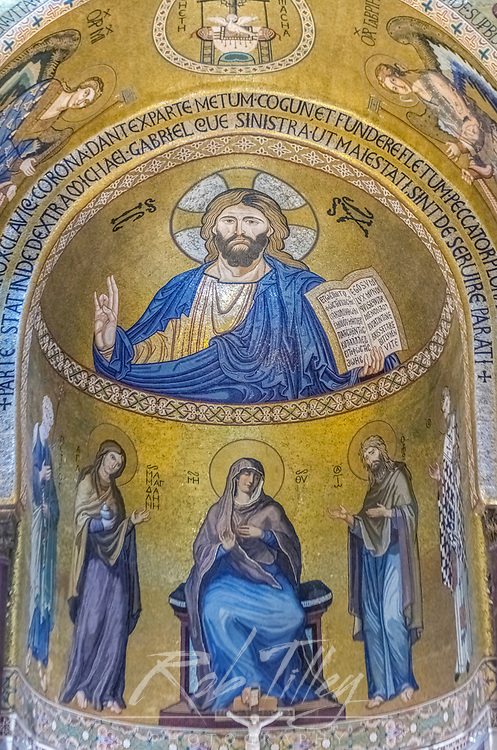 Europe, Italy, Sicily, Palermo, Palatine Chapel Mosaic Mural of Christ Pantocrator commissioned by Norman King Roger II and completed in the 12th Century