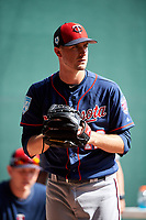 Minnesota Twins pitcher Jake Odorizzi (12) throws in the bullpen during a Spring Training practice on February 22, 2019 at Hammond Stadium in Fort Myers, Florida.  (Mike Janes/Four Seam Images)